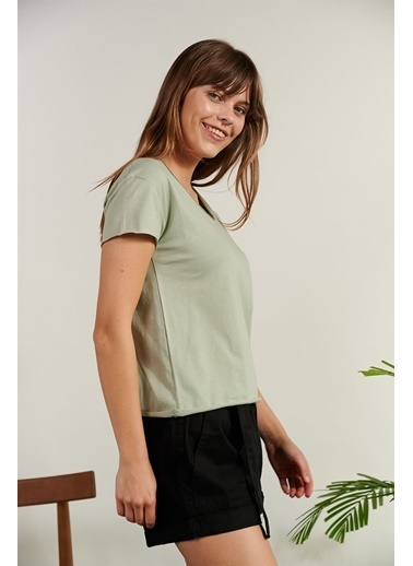Levure Pamuklu T-Shirt  Yeşil